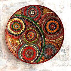 My mosaic plate. Available  Www.moushkacrafts.etsy.com #mosaic #mosaicplate #mosaicbowl #svetmosaic