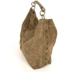 Gwyneth Taupe Suede Shoulder Bag