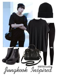 """""""Jungkook Inspired Outfit"""" by btsoutfits ❤ liked on Polyvore featuring H&M, Merona and Monki"""