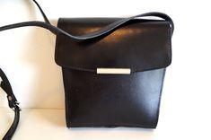 Vintage shoulder bag. Black Genuine suede leather by vintagdesign
