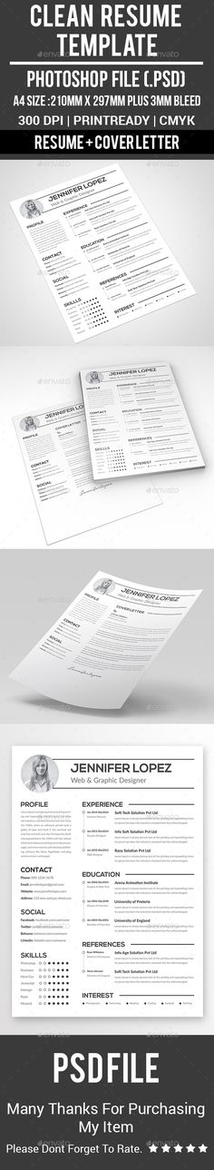 Modern And Clean Cv  Resume Template Psd  Resume Templates