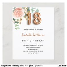 Sweet 16 Birthday, 16th Birthday, Party Themes, Rose Gold, Postcard Size, Zazzle Invitations, Greenery, Floral, Party Supplies