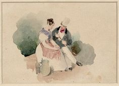 Peter Fendi   Sitzendes Paar - Seated Couple   1836   © Albertina, Wien #love #couples #art #arthistory #drawings #graphicart #prints #albertina
