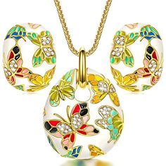 a8c9f7d7414b33 Spring of Versailles Jewelry Sets for Women Vintage Enamel Butterfly Necklace  Earrings Jewelry Set Birthday Gifts for Women Gifts for Mom Girlfriend Wife  ...