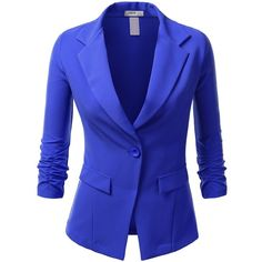 J.TOMSON Womens Boyfriend Blazer found on Polyvore featuring polyvore, fashion, clothing, outerwear, jackets, blazers, blue blazer, boyfriend jacket, blue jackets and boyfriend blazer