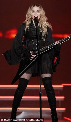 On-stage outfit:The mother-of-four sported a host of different outfits on-stage, including this all-black look