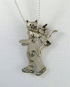 Sterling Silver And Sterling Silverware Cat Angel Pendant - Angel Cat Hannah Is Skating Through Life - Empowerment - Jewelry Pendant - 1473