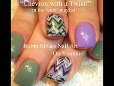 Chevron Nail Art with Filigree - YouTube | Robin Moses