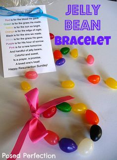 Posed Perfection: Jelly Bean Easter Bracelets---not sure if I would do a bracelet; maybe in a bag with the note attached