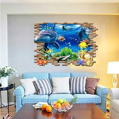 Fish Seabed Living room Wall Sticker kids room wall Decals Baby Decor Underwater World Fish Ocean Wallpaper home decoration Decor, Kids Room Wall, Baby Decor, Kids Room Wall Decals, Dolphin Wall Art, Room Wall Decor, Diy Mural, Kids Room Wall Stickers, Wall Stickers Kids