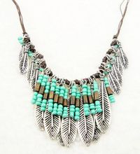Bohemian Style Silver Resin Turquoise Bead Mteal Leaf Long Pendant Tassel Fringe Bib Necklace Turkish Ethnic Boho Necklace(China (Mainland))
