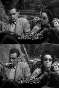 Billy Wilder's Sunset Boulevard (1950). As an unseen Erich von Stroheim drives, William Holden and Gloria Swanson discuss fashion.