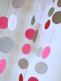 Silver Pink garland, hot pink with silver glitter garland, circle paper , pink baby shower decor, nursery decor, girl birthday party garland