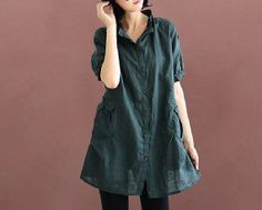 Fashion Women Long Dark Green Cotton Linen Front Button Top Shirt Loose Fit Top Clothes Leisure Top Clothes Short Sleeve Shirt