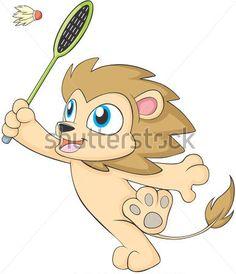 Happy Lion Cartoon Playing Badminton
