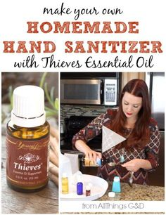 All-natural homemade hand sanitizer made using Young Living's Thieves essential oil blend. Post includes recipes for both gel and spray hand sanitizers and a video tutorial!   www.allthingsgd.com