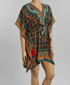 Aqua & Red Geo Swirl Caftan - Plus by Life and Style Fashions #zulily