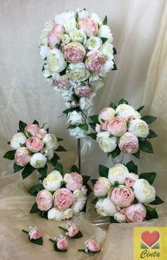 Wholesale 1000pcs fabric rose petals silk flower for diy accessory artificial silk flower l pinkcream peony teardrop bridal wedding bouquet set mightylinksfo
