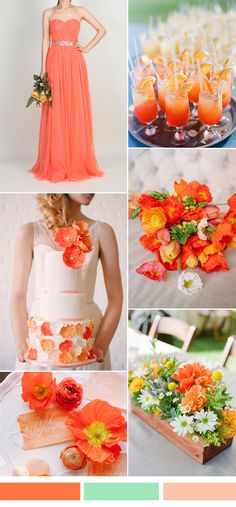 bright orange fall wedding color ideas and tulle bridesmaid dresses