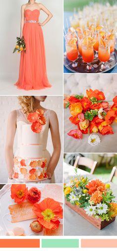 bright orange fall wedding color ideas and tulle bridesmaid dresses