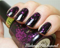 Revlon - Facets of Fuchsia (a cheaper dupe for Deborah Lippmann - Bad Romance, shown here over black)