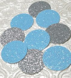 Light blue and silver glitter confetti circles wedding bridal anniversary birthday party baby shower gender invitations table decoration Disney Cinderella party princess gender reveal Christening Baptism Confirmation Bachelor engagement anniversary