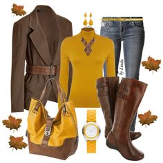 Brown & Yellow Fall Outfit, created by lindakol on Polyvore