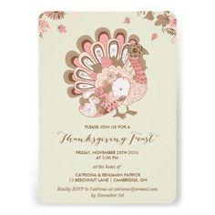 Pink Turkey Floral Thanksgiving Feast Invitation