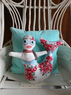 Mermaid Pillow Turquoise and Red Beach Decor for Coastal Living by searchnrescue2, via Etsy.