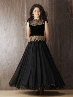 Black Velvet Net Party Wear Girls Gown