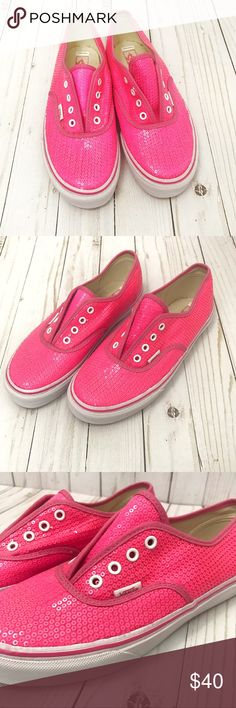 VANS 💕 pink sequin slip on Nearly perfect condition vans slip on with sequin. All sequins still attached. Youth size 4-- fits women's size 6! 💕 Vans Shoes Sneakers