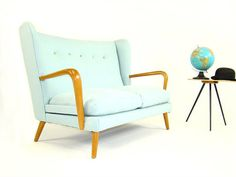 Vintage Howard Keith Wingback Sofa from Hopper and Space. Not a huge fan of the light blue, but it's a great shape and size!
