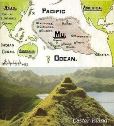 Lost Continent Lemuria in Pacific Ocean. Most prominent Islands such as Tonga… Ancient Aliens, Ancient History, Atlantis, Gilbert Islands, Society Islands, Mystery Of History, Easter Island, Ancient Mysteries, Lost City
