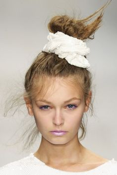 Messy High  Bun Hair Style Trend for Spring Summer 2013.  Ashish Spring Summer 2013.     #hair  #trends