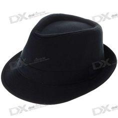 Moda Algodão Fedora Hat / Cap (Preto)