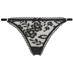 Agent Provocateur Denver Thong ($115) ❤ liked on Polyvore featuring intimates, panties, lingerie, bow thong, thong lingerie, floral lingerie, bow lingerie and black thong