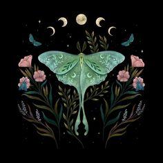 Luna Moth Tattoo, Moth Drawing, Diy Inspiration, Creatures Of The Night, New Art, Art Inspo, Folk Art, Fantasy Art, Sketches