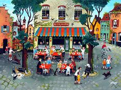 The Joys of Dining by Marie-Louise Batardy - GINA Gallery of International Naive Art