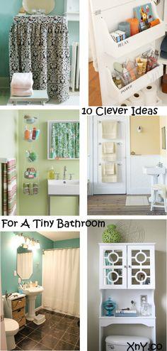 10 Clever Ideas For A Tiny Bathroom. #SmallBathroomIdeas #SmallBathrooms