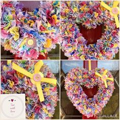 Spring colours heart wreath £15 plus postage www.facebook.com/tiedwithlovewreaths #htlmp #ukhandmade