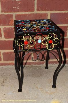 Metal Plant Stand  Patio Decor Colorful Black by AquaXpressions, $30.00