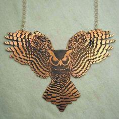 Copper etched owl pendant