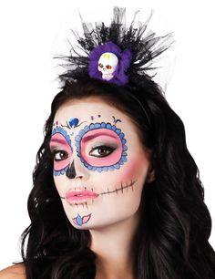 Diadema esqueleto con tul mujer Halloween: Esta diadema de plástico tiene tejido…
