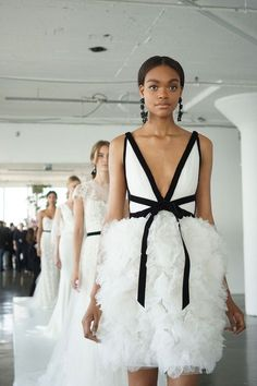 Marchesa Spring 2018 Bridal Collection- bride- gown- ruffled- black detail- style