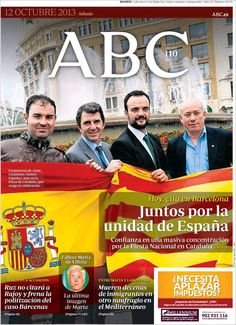 Los Titulares y Portadas de Noticias Destacadas Españolas del 12 de Octubre de 2013 del Diario ABC ¿Que le pareció esta Portada de este Diario Español?