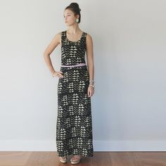 Hand Printed Organic Maxi Dress in Gold on Black by thiefandbandit, $130.00