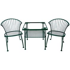 Pair of Woodard Wrought Iron Chairs with Occasional Table