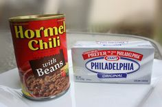 Chili Cream Cheese Dip . 8 oz. cream cheese and one can Hormel chili. I use the chili with beans. Place in microwave until cream cheese melts. Top with shredded cheddar cheese. Serve with tortilla chips.