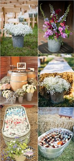 rustic buckets tubs wedding ideas