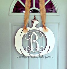 Pumpkin with Wooden Monogram Letter by TrendyTrimmings on Etsy $25.00